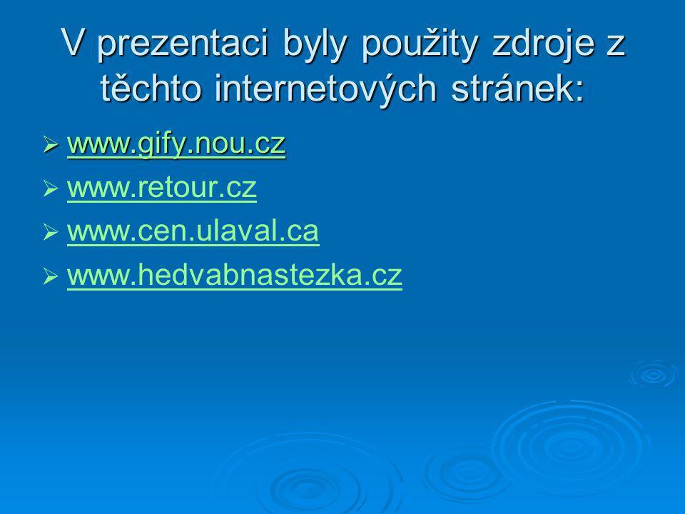 V prezentaci byly použity zdroje z těchto internetových stránek:  www.gify.nou.cz www.gify.nou.cz   www.retour.cz www.retour.cz   www.cen.ulaval.