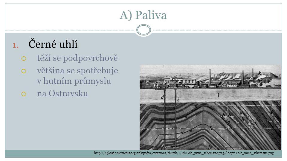 A) Paliva 1. Černé uhlí  těží se podpovrchově  většina se spotřebuje v hutním průmyslu  na Ostravsku http://upload.wikimedia.org/wikipedia/commons/