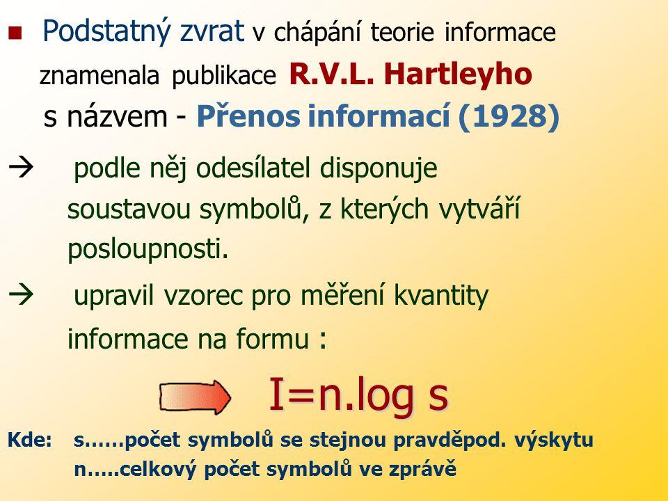 První pokusy o kvantifikaci přenášené informace jsou z roku 1924 : KÜPFMULLER – vyjádřil obsah zprávy rovnicí : k=B.T kde: k…………………kvantum informace B