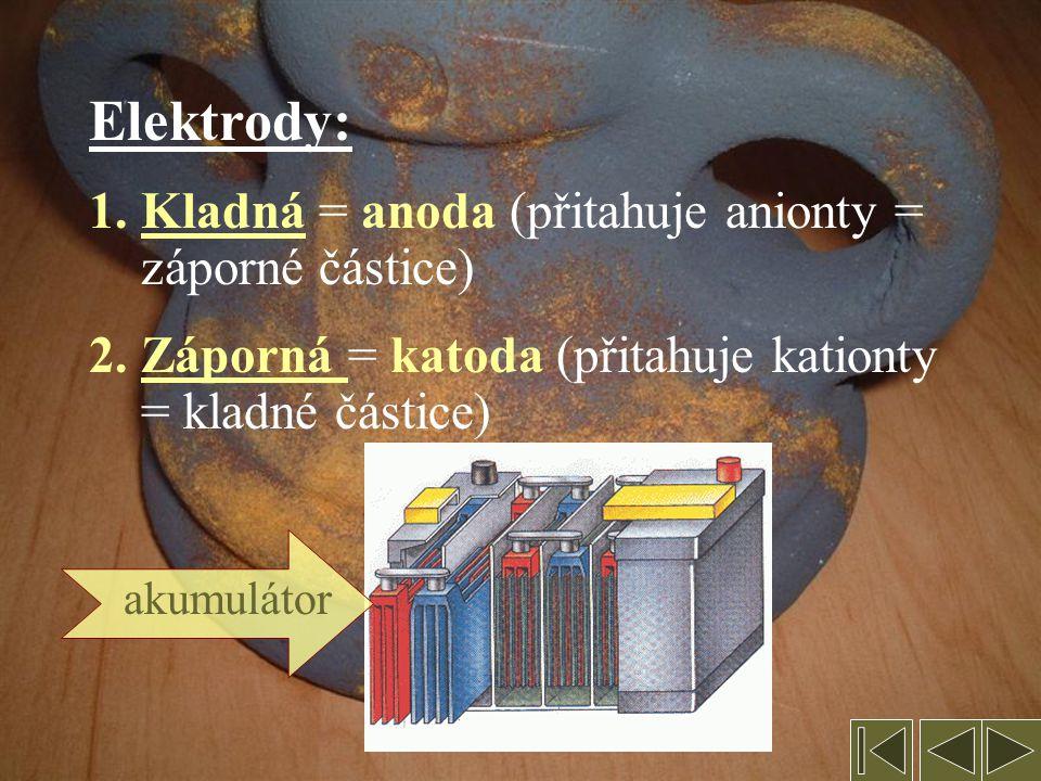 2. Elektrolýza = redoxní reakce probíhající při průchodu proudu roztokem nebo taveninou Podmínkou elektrické vodivosti je přítomnost volně pohyblivých