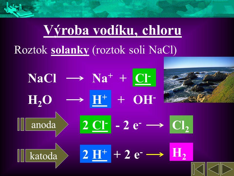 3. Užití elektrolýzy Využívaná při výrobách některých: Kovů (Na, K, Mg, Al, Cu) Nekovů (H, O, Cl) Sloučenin (HCl, NaOH, KOH) Pokovování povrchu