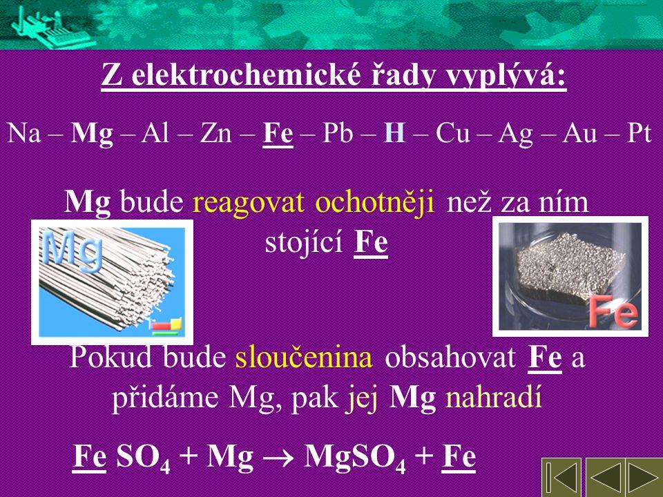 4. Redoxní vlastnosti kovů Některé kovy reagují s kyselinami ochotně, jiné méně a některé vůbec Z toho lze vyvodit jejich elektrochemickou řadu: Na –