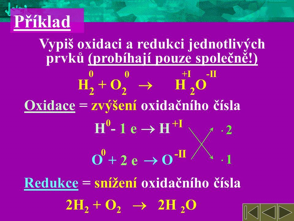 O  O Redukce = snížení oxidačního čísla Oxidace = zvýšení oxidačního čísla H  H Příklad Vypiš oxidaci a redukci jednotlivých prvků (probíhají pouze společně!) H 2 + O 2  H 2 O 0 0 +I-II 0 +I -II 0 · 2· 2 · 1· 1 - 1 e + 2 e 2H 2 + O 2  2H 2 O