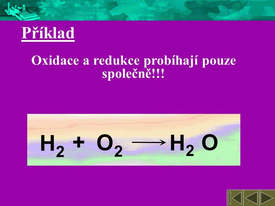 O  O Redukce = snížení oxidačního čísla Oxidace = zvýšení oxidačního čísla H  H Příklad Vypiš oxidaci a redukci jednotlivých prvků (probíhají pouze