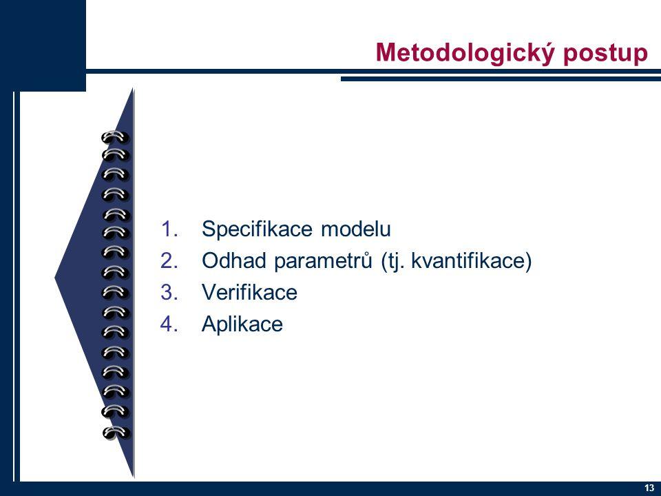 13 Metodologický postup 1.Specifikace modelu 2.Odhad parametrů (tj. kvantifikace) 3.Verifikace 4.Aplikace