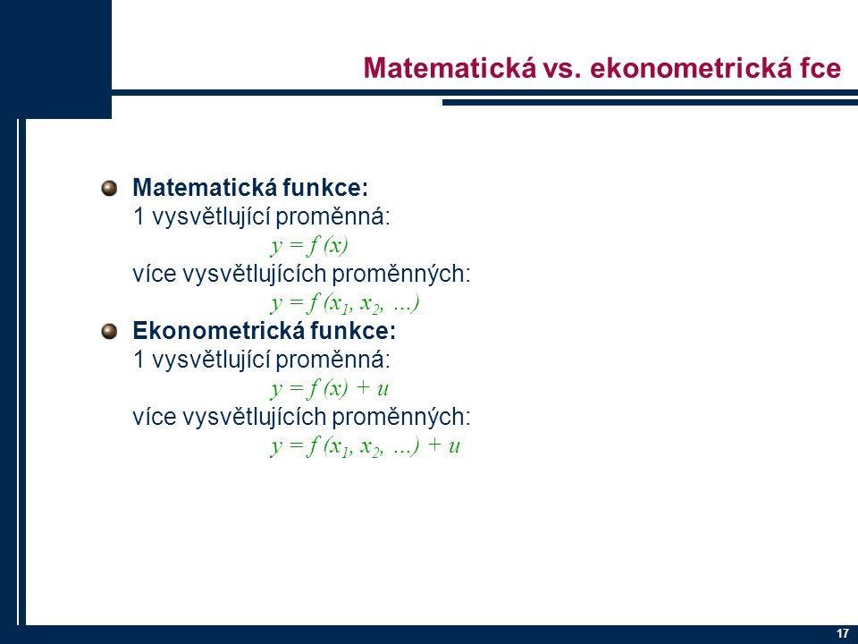 17 Matematická vs. ekonometrická fce Matematická funkce: 1 vysvětlující proměnná: y = f (x) více vysvětlujících proměnných: y = f (x 1, x 2, …) Ekonom
