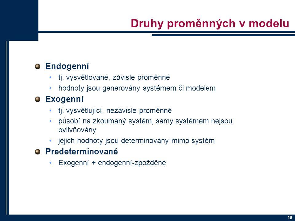 18 Druhy proměnných v modelu Endogenní tj. vysvětlované, závisle proměnné hodnoty jsou generovány systémem či modelem Exogenní tj. vysvětlující, nezáv