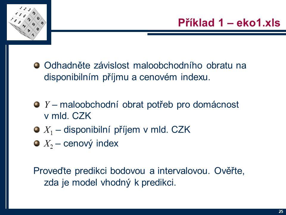 25 Příklad 1 – eko1.xls Odhadněte závislost maloobchodního obratu na disponibilním příjmu a cenovém indexu. Y – maloobchodní obrat potřeb pro domácnos
