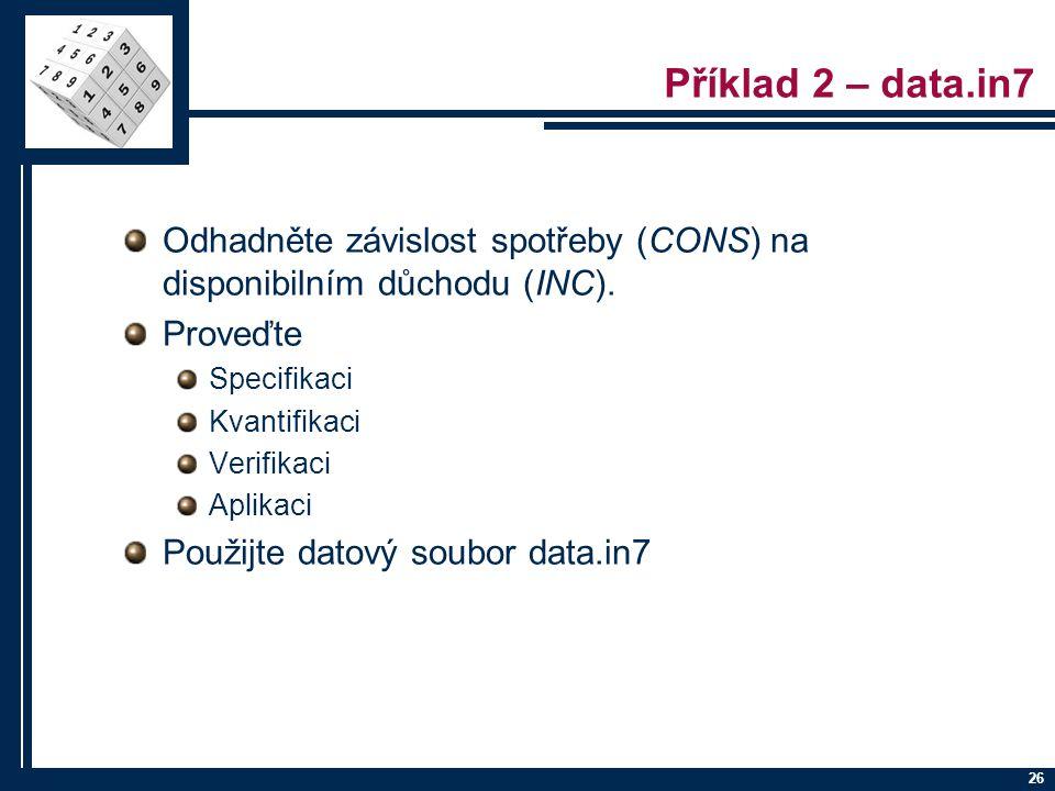 26 Příklad 2 – data.in7 Odhadněte závislost spotřeby (CONS) na disponibilním důchodu (INC). Proveďte Specifikaci Kvantifikaci Verifikaci Aplikaci Použ