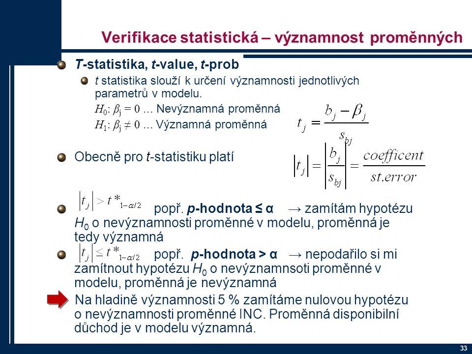 33 Verifikace statistická – významnost proměnných T-statistika, t-value, t-prob t statistika slouží k určení významnosti jednotlivých parametrů v mode
