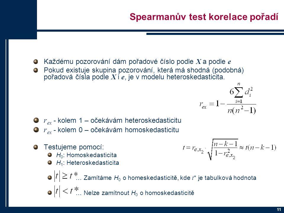 11 Spearmanův test korelace pořadí Každému pozorování dám pořadové číslo podle X a podle e Pokud existuje skupina pozorování, která má shodná (podobná) pořadová čísla podle X i e, je v modelu heteroskedasticita.