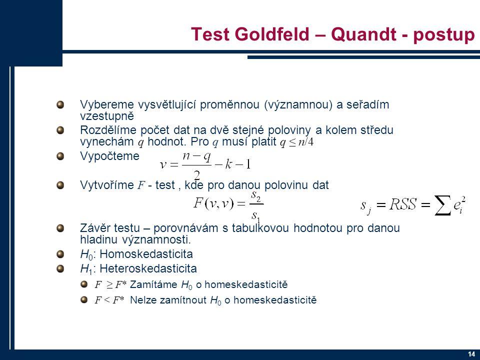 14 Test Goldfeld – Quandt - postup Vybereme vysvětlující proměnnou (významnou) a seřadím vzestupně Rozdělíme počet dat na dvě stejné poloviny a kolem středu vynechám q hodnot.