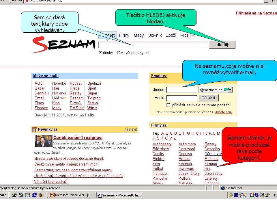 Co je to internetový vyhledávač Aplikace na internetu,která dokáže podle klíčového slova najít internetovou stránku Existuje celá řada vyhledavačů,které jsou obecně rozděleny do dvou skupin: Fulltextové Katalogové