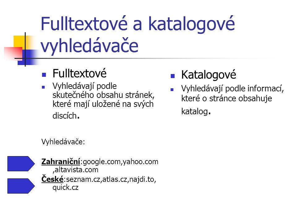 Fulltextové a katalogové vyhledávače Fulltextové Vyhledávají podle skutečného obsahu stránek, které mají uložené na svých discích.