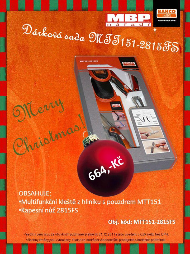 Dárková sada MTT151-2815FS OBSAHUJE: Multifunkční kleště z hliníku s pouzdrem MTT151 Kapesní nůž 2815FS Obj. kód: MTT151-2815FS Merry Christmas! 664,-