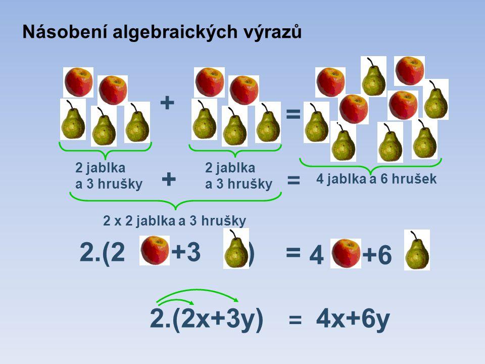 = + 2.(2x+3y) 2 jablka a 3 hrušky = 4 jablka a 6 hrušek = 4x+6y + 2.(2 +3 ) 2 x 2 jablka a 3 hrušky = 4 +6 Násobení algebraických výrazů