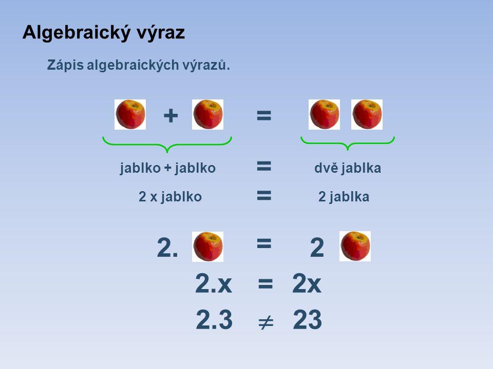 Zápis algebraických výrazů. += jablko + jablkodvě jablka 2.