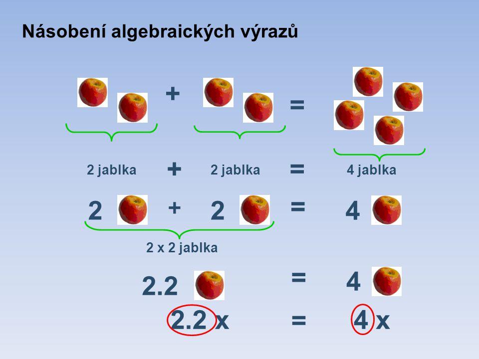 = 2 + + 2 2.2 x 2 jablka = = 4 jablka = 4 x + 4 2.2 2 x 2 jablka = 4 Násobení algebraických výrazů