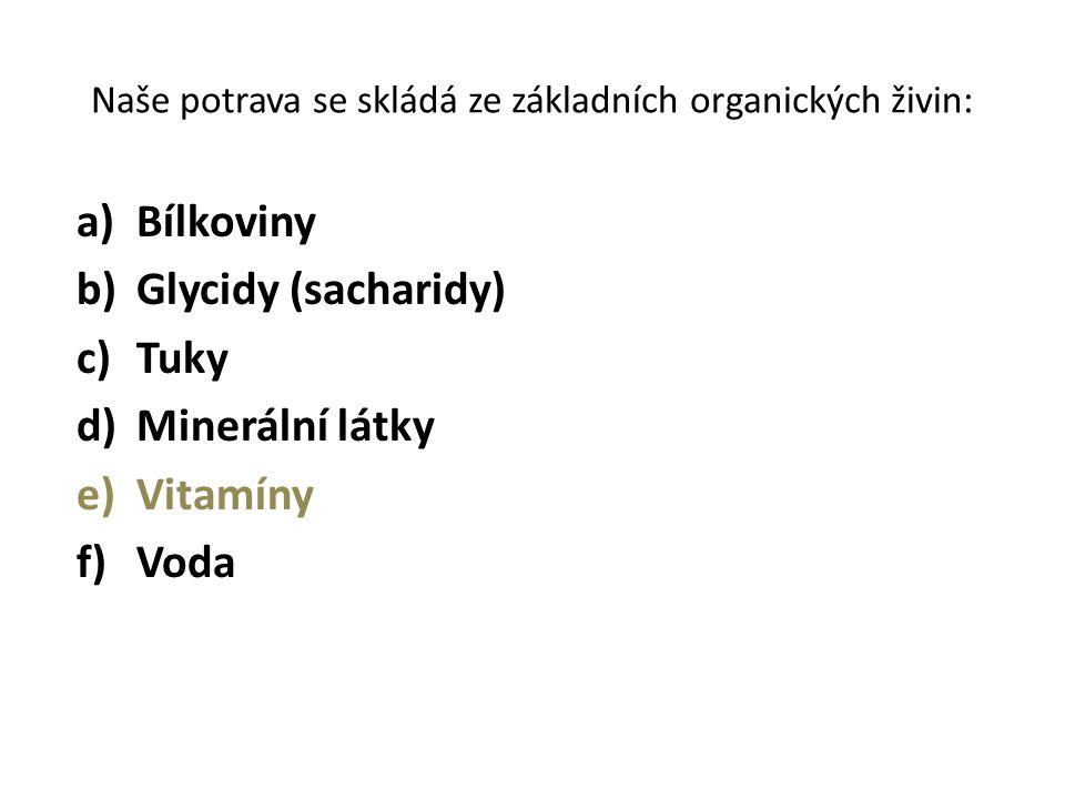 Naše potrava se skládá ze základních organických živin: a)Bílkoviny b)Glycidy (sacharidy) c)Tuky d)Minerální látky e)Vitamíny f)Voda