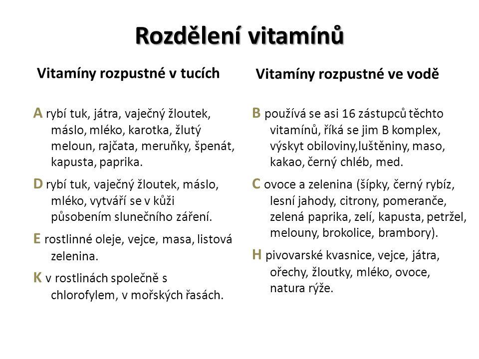Rozdělení vitamínů Vitamíny rozpustné v tucích A rybí tuk, játra, vaječný žloutek, máslo, mléko, karotka, žlutý meloun, rajčata, meruňky, špenát, kapusta, paprika.