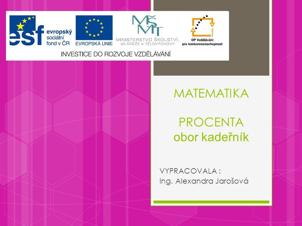 MATEMATIKA PROCENTA obor kadeřník VYPRACOVALA : Ing. Alexandra Jarošová