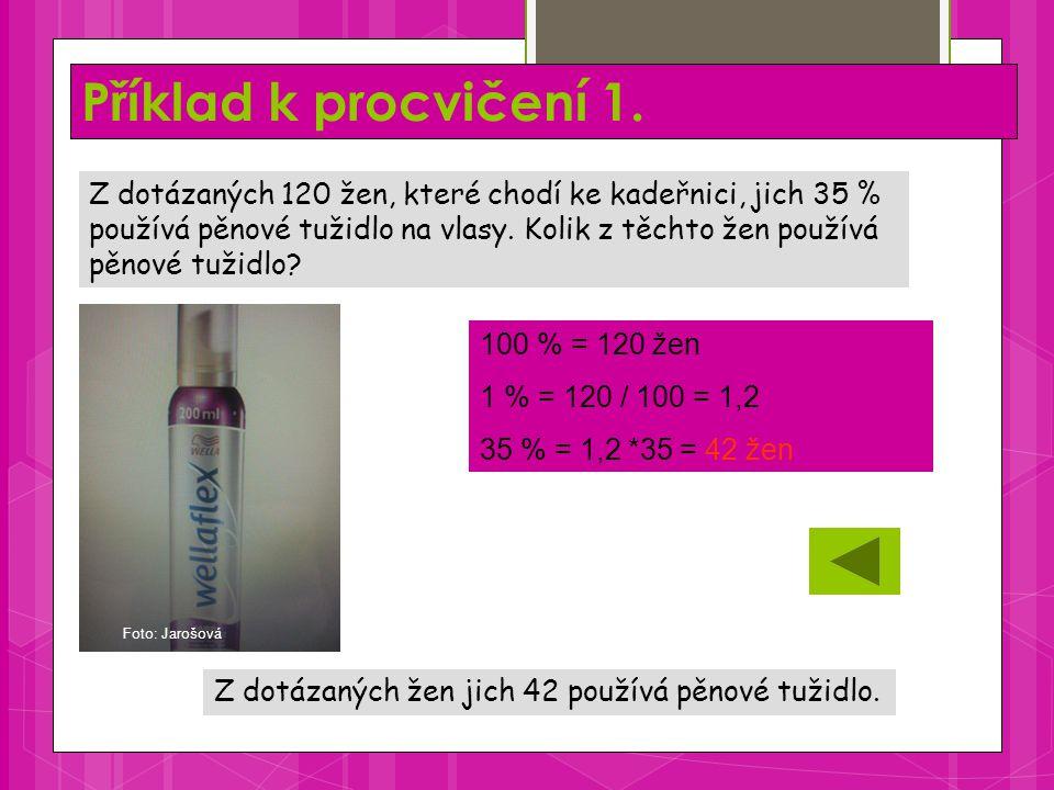 Příklad k procvičení 1. Z dotázaných žen jich 42 používá pěnové tužidlo.