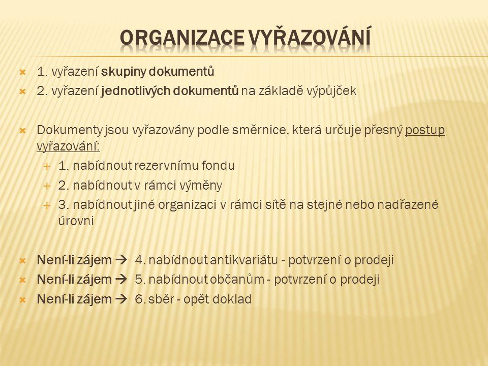  1. vyřazení skupiny dokumentů  2. vyřazení jednotlivých dokumentů na základě výpůjček  Dokumenty jsou vyřazovány podle směrnice, která určuje přes