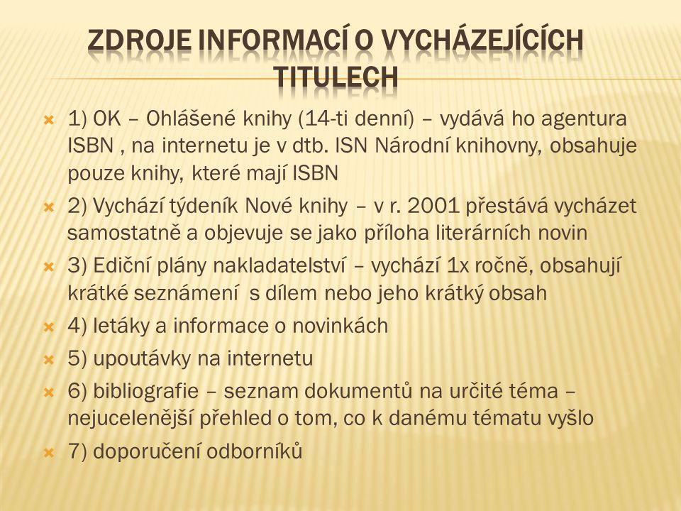  1) OK – Ohlášené knihy (14-ti denní) – vydává ho agentura ISBN, na internetu je v dtb. ISN Národní knihovny, obsahuje pouze knihy, které mají ISBN 