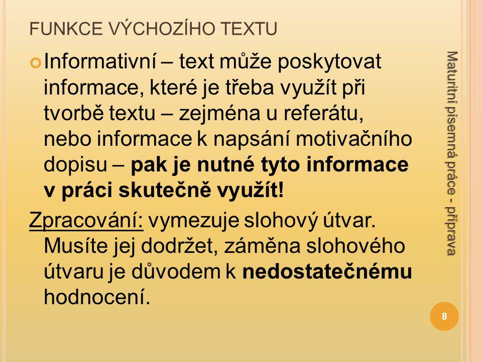 FUNKCE VÝCHOZÍHO TEXTU Informativní – text může poskytovat informace, které je třeba využít při tvorbě textu – zejména u referátu, nebo informace k napsání motivačního dopisu – pak je nutné tyto informace v práci skutečně využít.