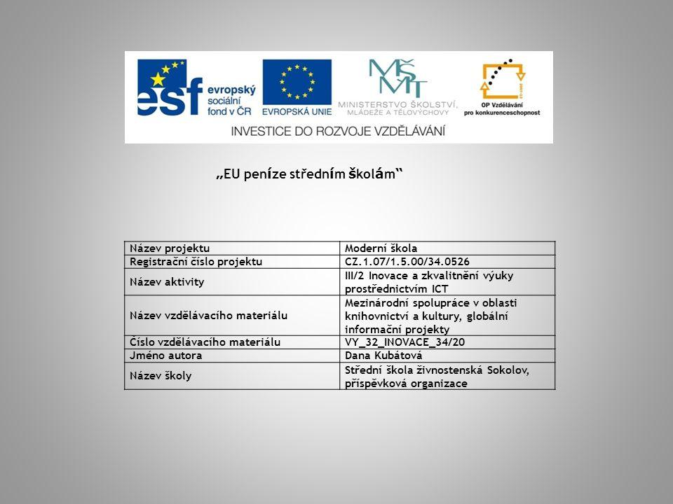 MEZINÁRODNÍ SPOLUPRÁCE V OBLASTI KNIHOVNICTVÍ A KULTURY, GLOBÁLNÍ INFORMAČNÍ PROJEKTY Informační gramotnost Informační společnost Digitalizace Meziinstitucionální projekty Standardizace a výzkum