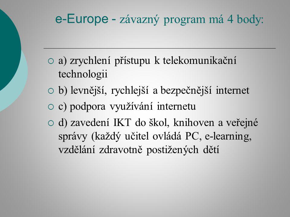 e-Europe - závazný program má 4 body:  a) zrychlení přístupu k telekomunikační technologii  b) levnější, rychlejší a bezpečnější internet  c) podpora využívání internetu  d) zavedení IKT do škol, knihoven a veřejné správy (každý učitel ovládá PC, e-learning, vzdělání zdravotně postižených dětí