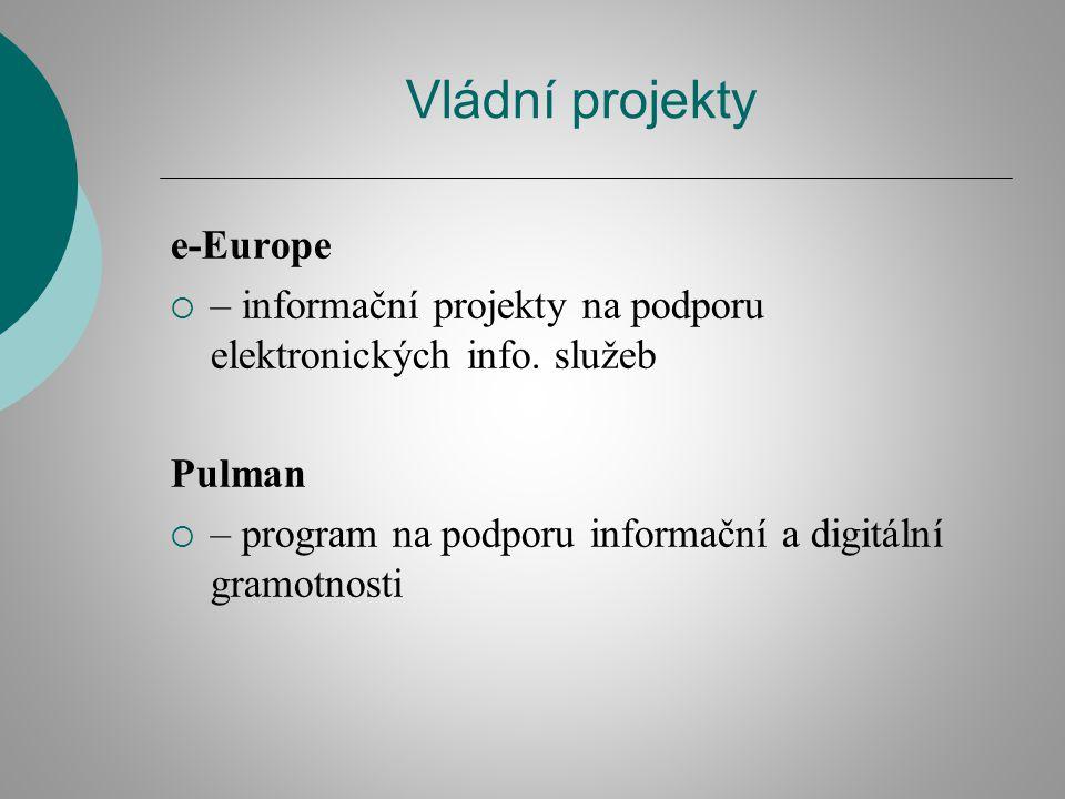Vládní projekty e-Europe  – informační projekty na podporu elektronických info. služeb Pulman  – program na podporu informační a digitální gramotnos
