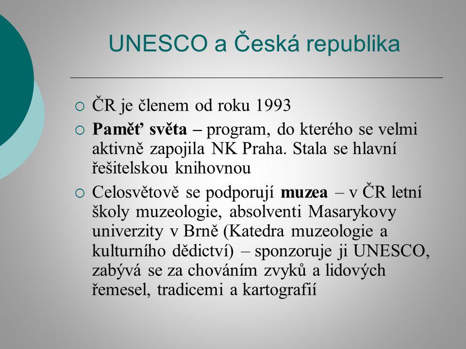 UNESCO a Česká republika  ČR je členem od roku 1993  Paměť světa – program, do kterého se velmi aktivně zapojila NK Praha. Stala se hlavní řešitelsk