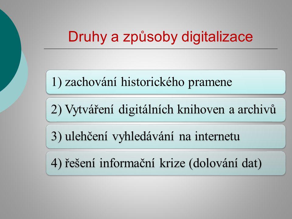 Druhy a způsoby digitalizace 1) zachování historického pramene2) Vytváření digitálních knihoven a archivů3) ulehčení vyhledávání na internetu4) řešení