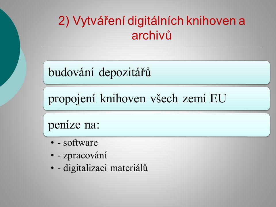 2) Vytváření digitálních knihoven a archivů budování depozitářůpropojení knihoven všech zemí EUpeníze na: - software - zpracování - digitalizaci mater