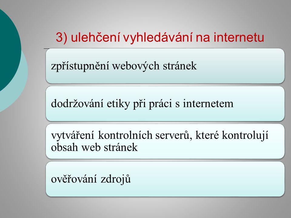 3) ulehčení vyhledávání na internetu zpřístupnění webových stránekdodržování etiky při práci s internetem vytváření kontrolních serverů, které kontrol
