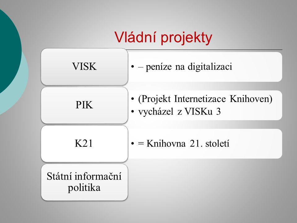 Vládní projekty – peníze na digitalizaci VISK (Projekt Internetizace Knihoven) vycházel z VISKu 3 PIK = Knihovna 21. století K21 Státní informační pol
