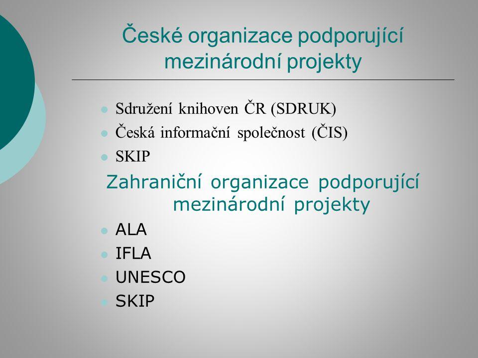 České organizace podporující mezinárodní projekty Sdružení knihoven ČR (SDRUK) Česká informační společnost (ČIS) SKIP Zahraniční organizace podporující mezinárodní projekty ALA IFLA UNESCO SKIP