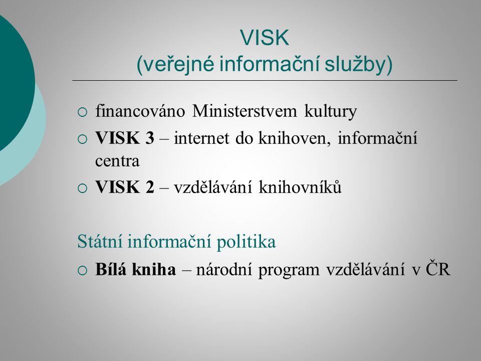 VISK (veřejné informační služby)  financováno Ministerstvem kultury  VISK 3 – internet do knihoven, informační centra  VISK 2 – vzdělávání knihovníků Státní informační politika  Bílá kniha – národní program vzdělávání v ČR