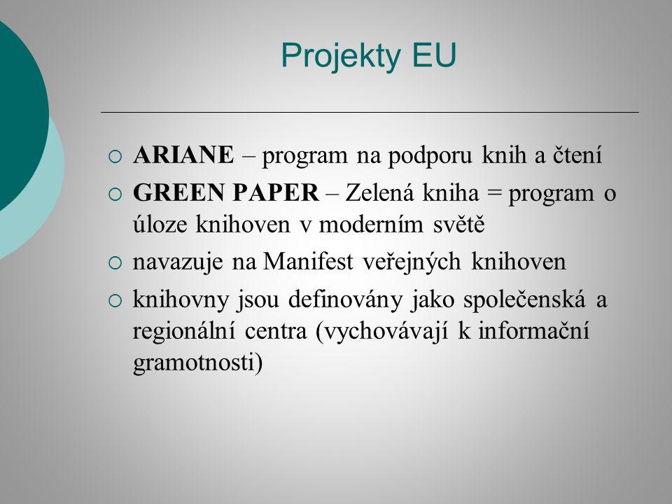 Projekty EU  ARIANE – program na podporu knih a čtení  GREEN PAPER – Zelená kniha = program o úloze knihoven v moderním světě  navazuje na Manifest veřejných knihoven  knihovny jsou definovány jako společenská a regionální centra (vychovávají k informační gramotnosti)