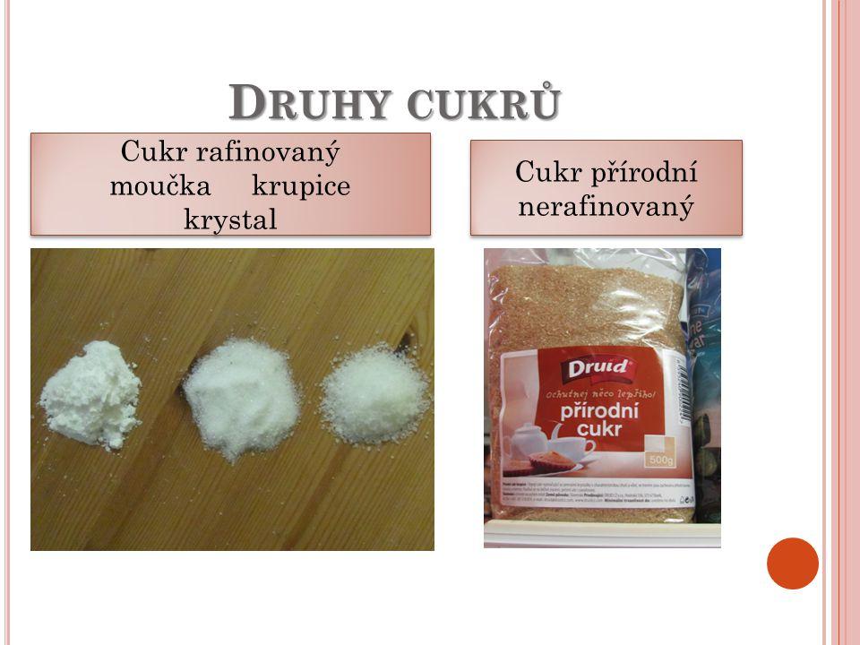 D RUHY CUKRŮ Cukr rafinovaný moučka krupice krystal Cukr rafinovaný moučka krupice krystal Cukr přírodní nerafinovaný