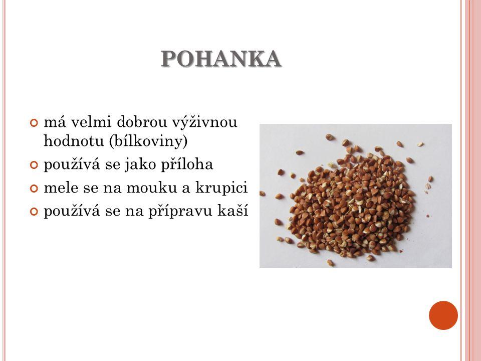 POHANKA má velmi dobrou výživnou hodnotu (bílkoviny) používá se jako příloha mele se na mouku a krupici používá se na přípravu kaší
