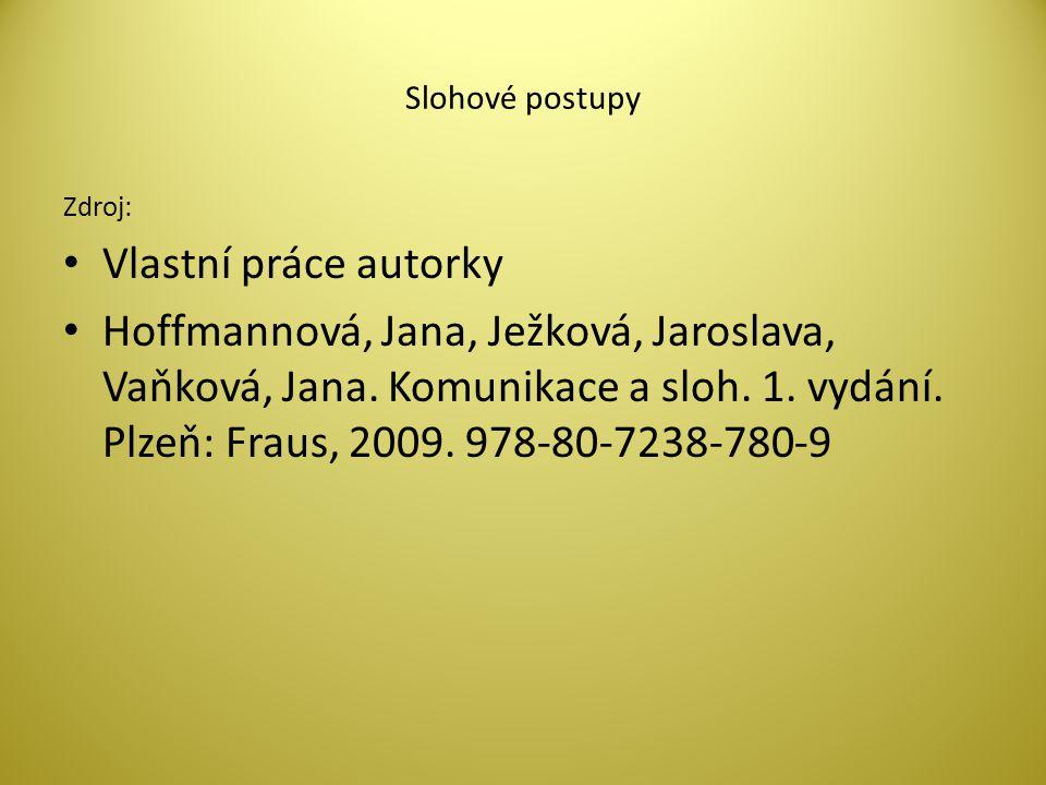 Slohové postupy Zdroj: Vlastní práce autorky Hoffmannová, Jana, Ježková, Jaroslava, Vaňková, Jana.