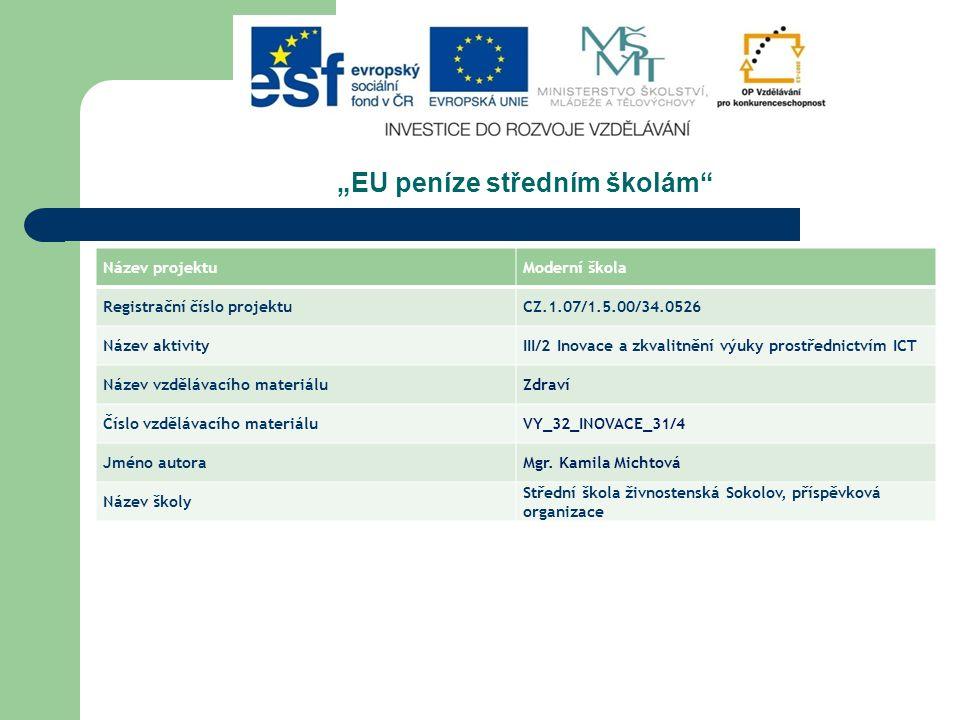 """""""EU peníze středním školám"""" Název projektuModerní škola Registrační číslo projektuCZ.1.07/1.5.00/34.0526 Název aktivityIII/2 Inovace a zkvalitnění výu"""