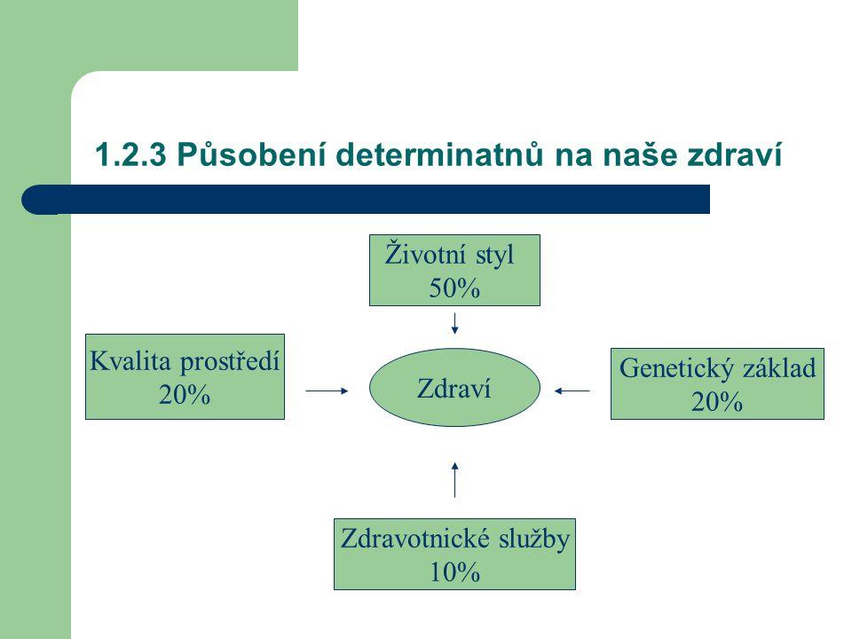 1.2.3 Působení determinatnů na naše zdraví Zdraví Životní styl 50% Kvalita prostředí 20% Genetický základ 20% Zdravotnické služby 10%