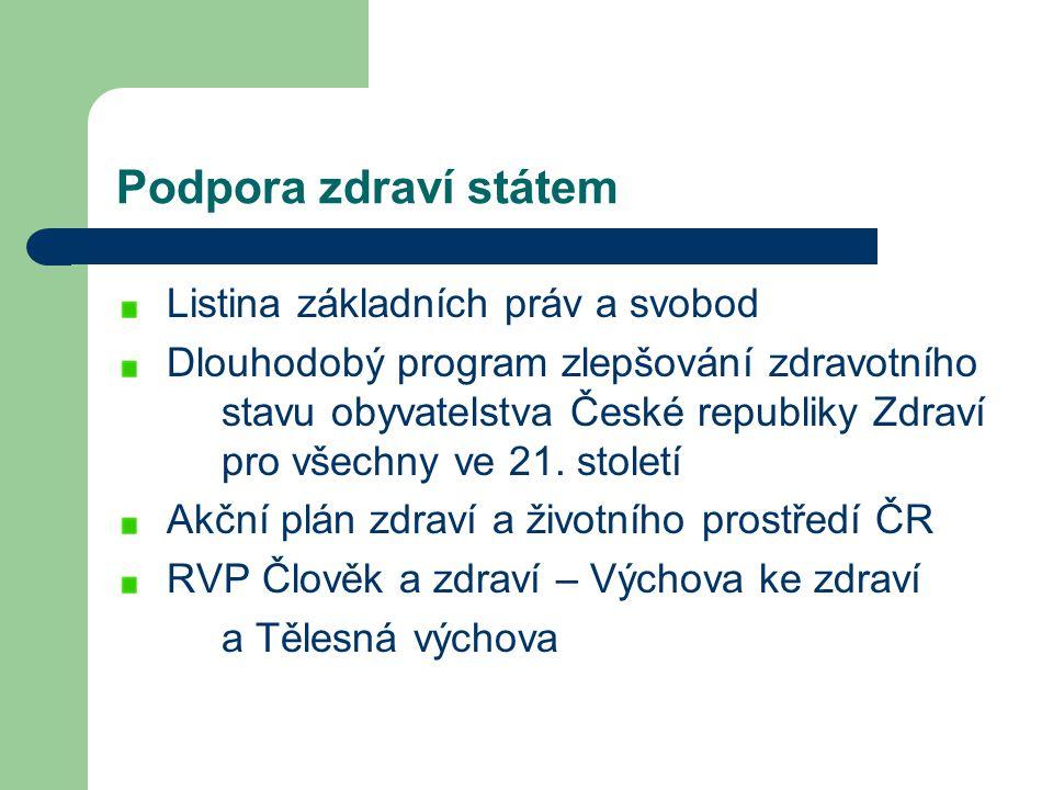 Podpora zdraví státem Listina základních práv a svobod Dlouhodobý program zlepšování zdravotního stavu obyvatelstva České republiky Zdraví pro všechny