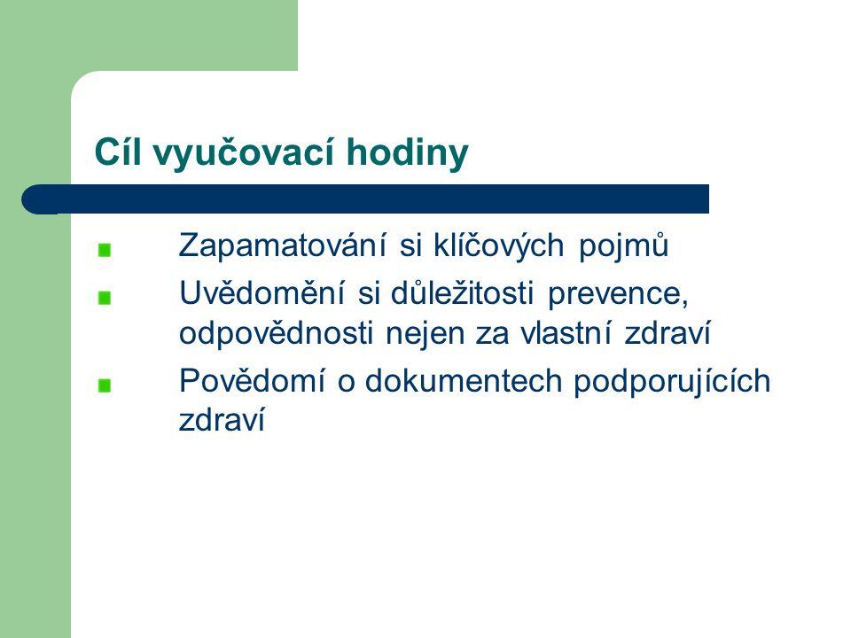 Obsah vyučovací hodiny Zdraví Determinanty zdraví Podpora zdraví - Dokumenty podporující zdraví obyvatelstva ČR Prevence Životní styl Co jsme si zapamatovali.