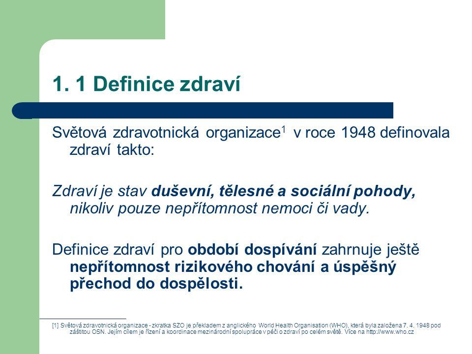 1. 1 Definice zdraví Světová zdravotnická organizace 1 v roce 1948 definovala zdraví takto: Zdraví je stav duševní, tělesné a sociální pohody, nikoliv