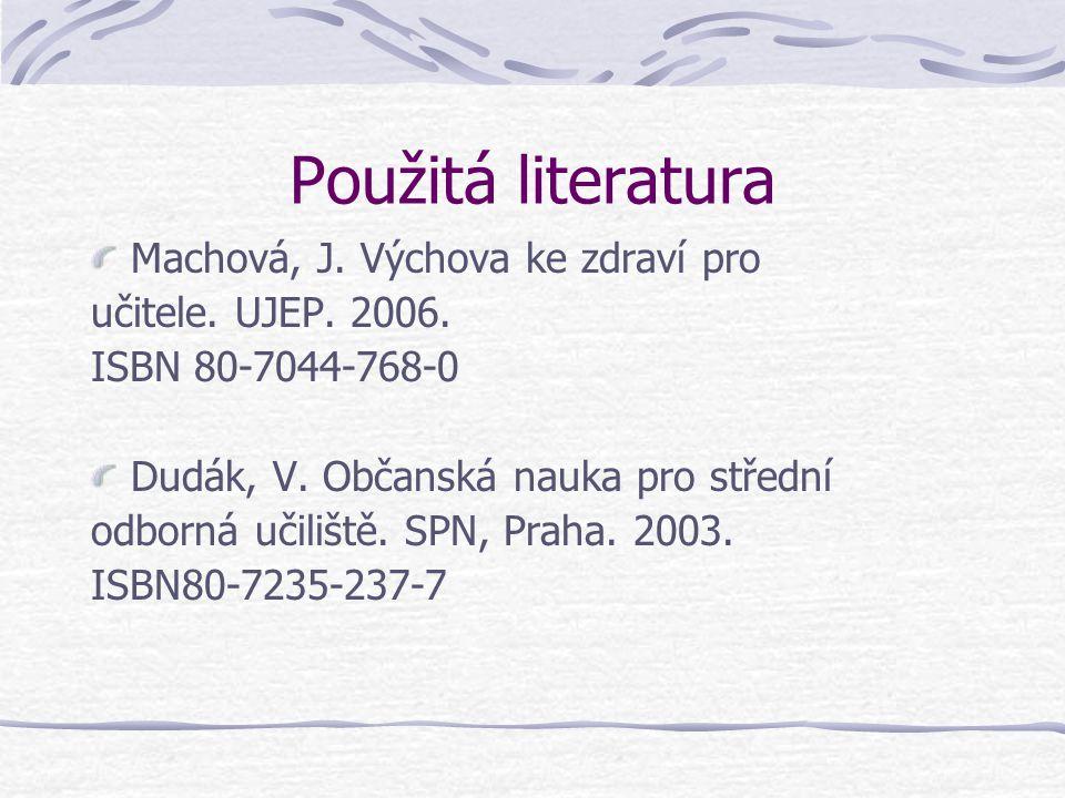 Použitá literatura Machová, J. Výchova ke zdraví pro učitele. UJEP. 2006. ISBN 80-7044-768-0 Dudák, V. Občanská nauka pro střední odborná učiliště. SP
