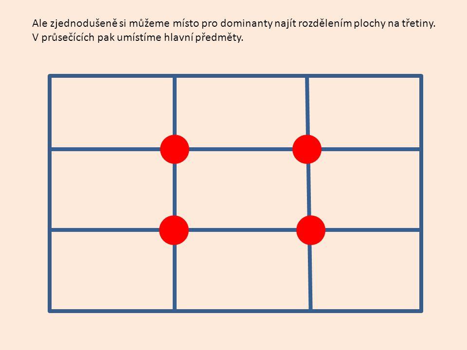 Ale zjednodušeně si můžeme místo pro dominanty najít rozdělením plochy na třetiny. V průsečících pak umístíme hlavní předměty.